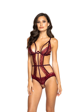 Glittered Multiple Cutout Crotchless Teddy with Underwire Support