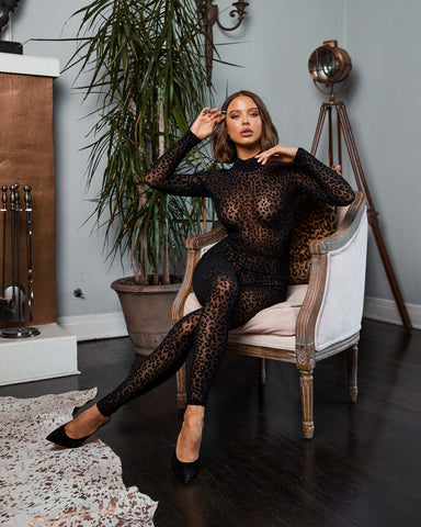 Image of Priscilla Velvet Full Length Leopard Bodysuit