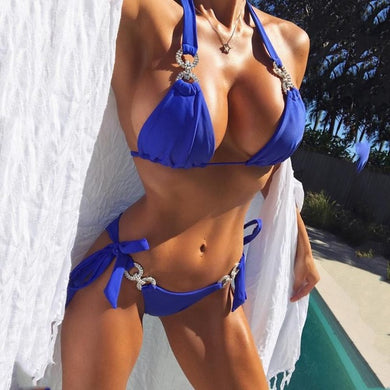 Blue Two Piece Bikini Set with Rhinestones-Bikinis-Fab Fantasies