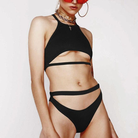 Image of One Piece Swimsuit with Srappy Front-Bikinis-Fab Fantasies