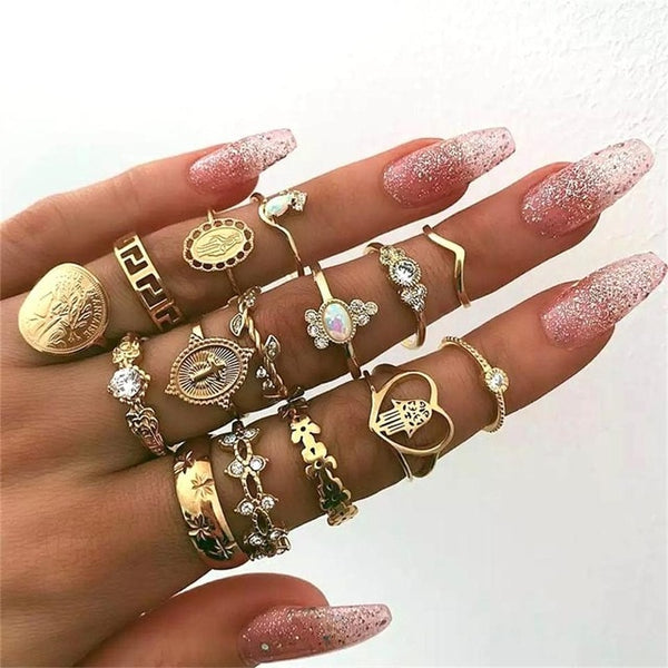Ariel Stacking Bohemian Ring Set-Jewelry-Fab Fantasies