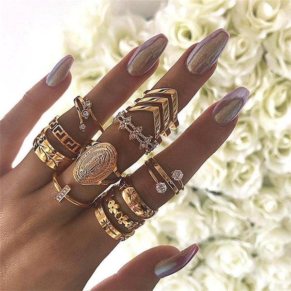 Elle Stacking Bohemian Ring Set-Jewelry-Fab Fantasies