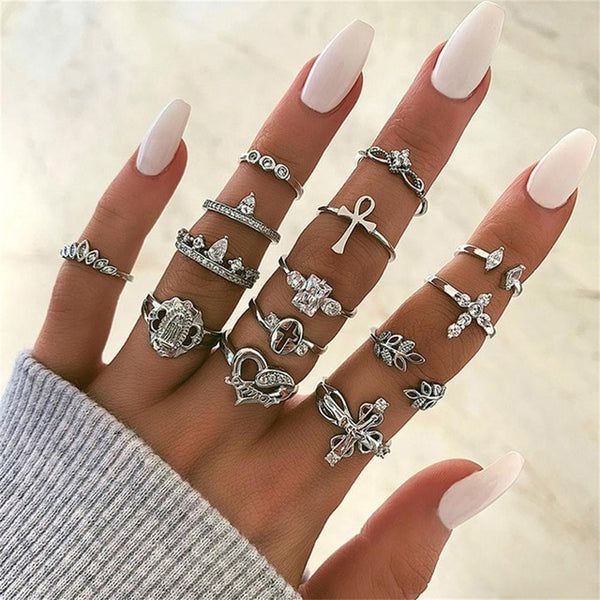 Brielle Stacking Bohemian Ring Set-Jewelry-Fab Fantasies