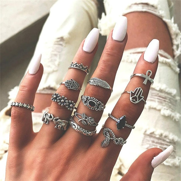 Daenerys Stacking Bohemian Ring Set-Jewelry-Fab Fantasies