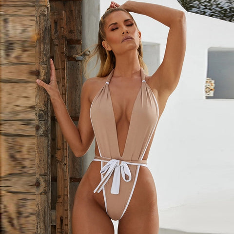 Sexy One Piece Two Color Swimsuit-Bikinis-Fab Fantasies