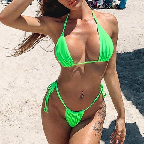 Image of Solid Color Neon High Cut Sexy Brazilian Bikinis-Bikinis-Fab Fantasies
