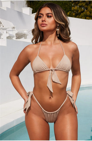 Image of Sexy Two Piece Halter Lace Up Bow Bikini-Bikinis-Fab Fantasies