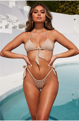 Sexy Two Piece Halter Lace Up Bow Bikini-Bikinis-Fab Fantasies