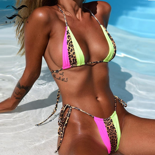 Neon and Leopard Color Block Brazilian Bikinis-Bikinis-Fab Fantasies