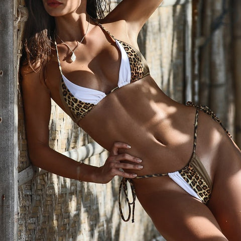 Image of Neon and Leopard Color Block Brazilian Bikinis-Bikinis-Fab Fantasies