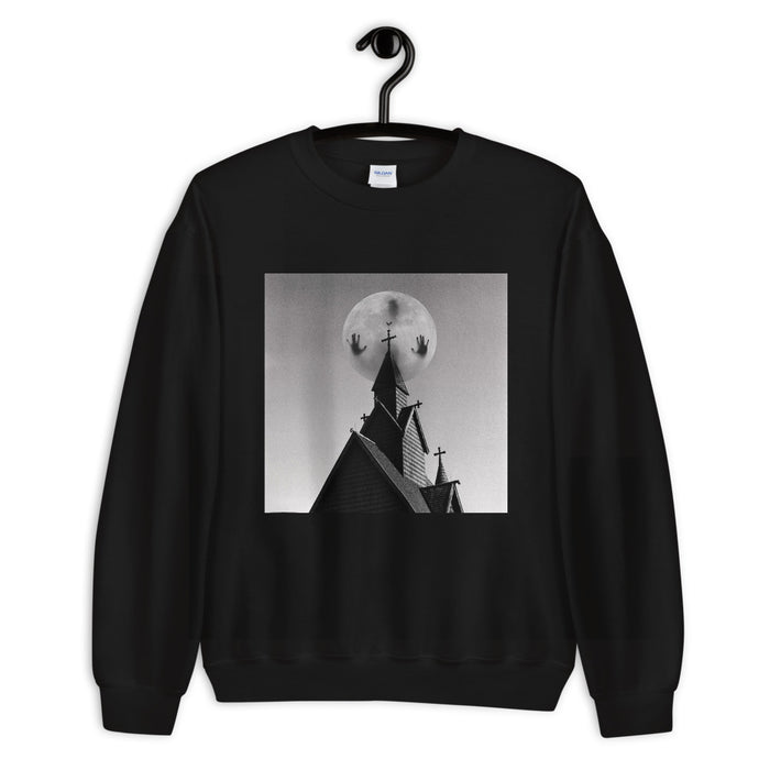 Possessed Moon Over Haunted House Unisex Sweatshirt - Layered Clothing Co.