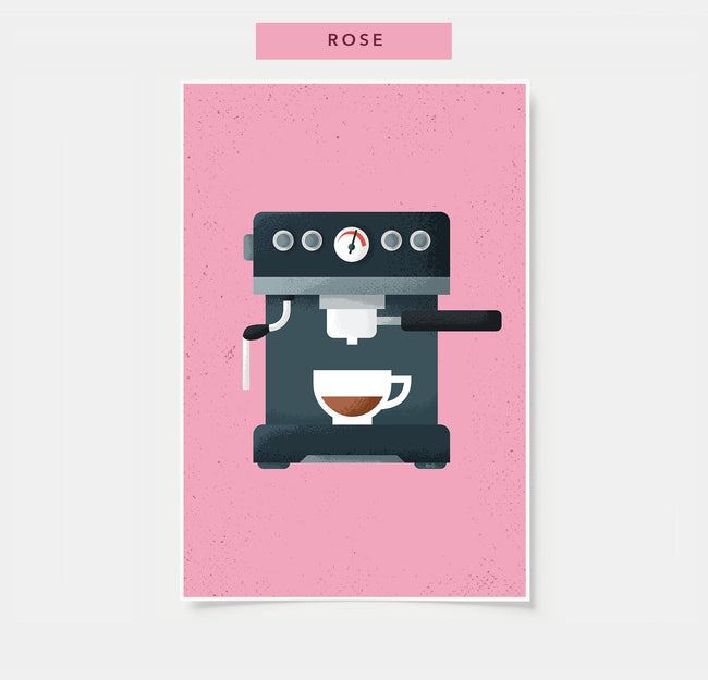 Espresso - Coffee Poster - Rose Colored