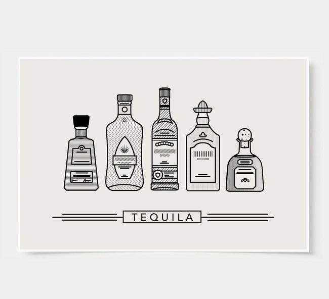 bar poster - black and white - tequila