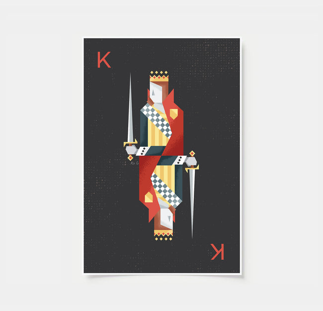 Red Playing Card Posters - Set of 3