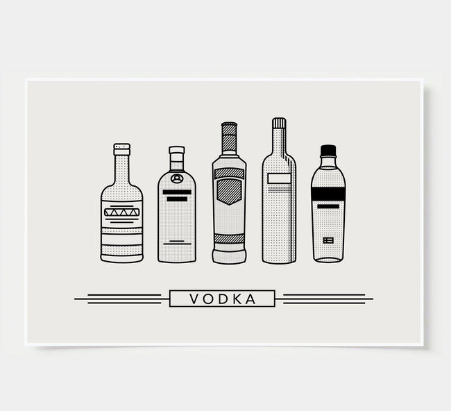 bar poster - black and white - vodka