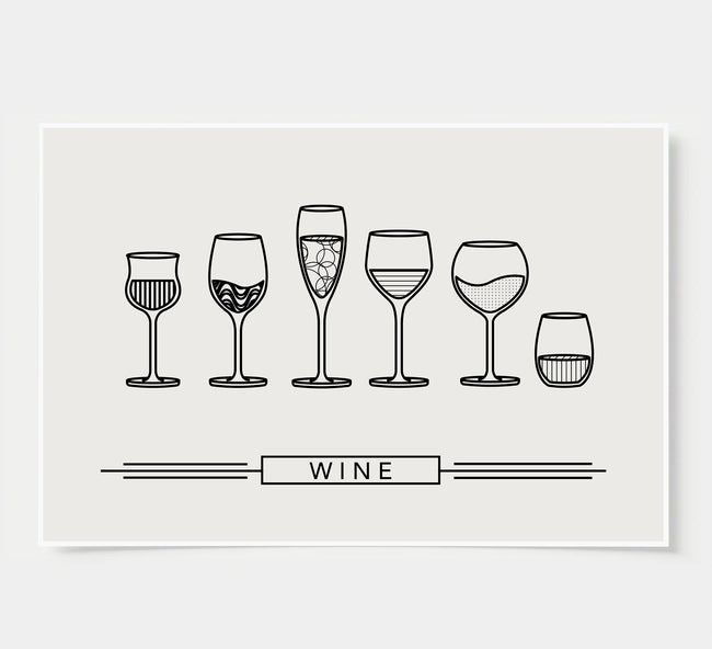 Wine Wall Decor poster - black and white