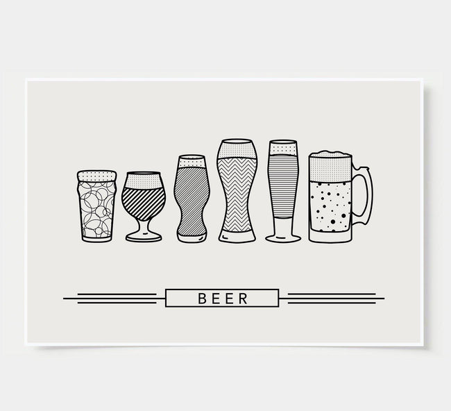craft beer glasses - bar poster - black and white