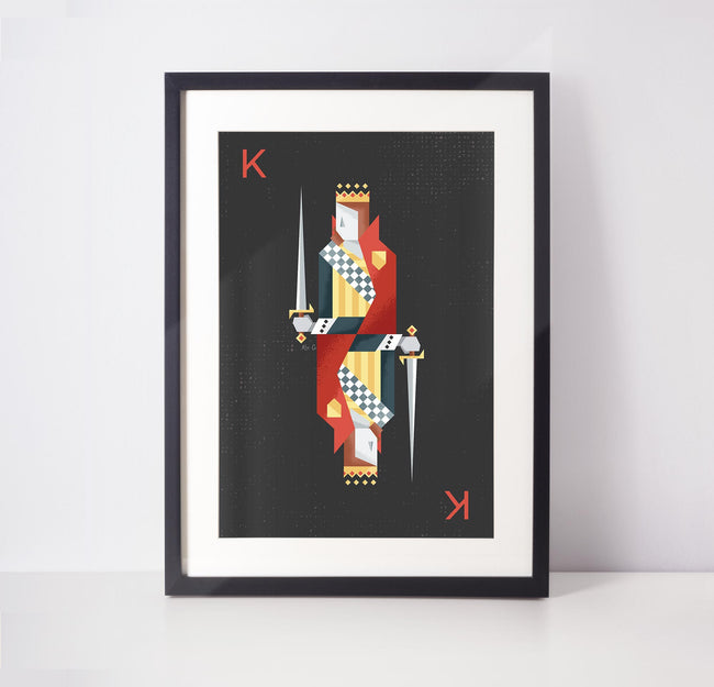 Red King Playing Card Print - Game Room Poster