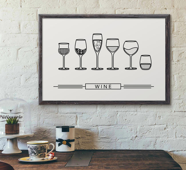 Wine Glass Designs - Wine Wall Decor - framed poster