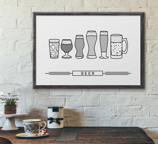 craft beer glasses - framed - black and white