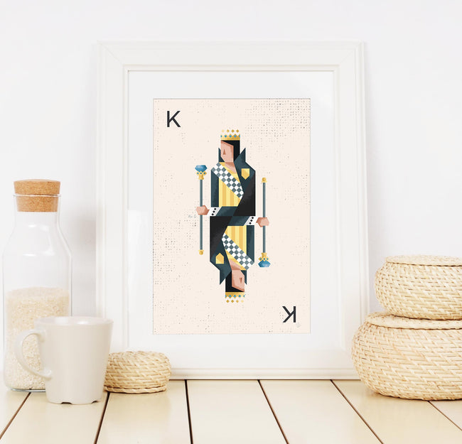 Black King Playing Card Print - Game Room Poster