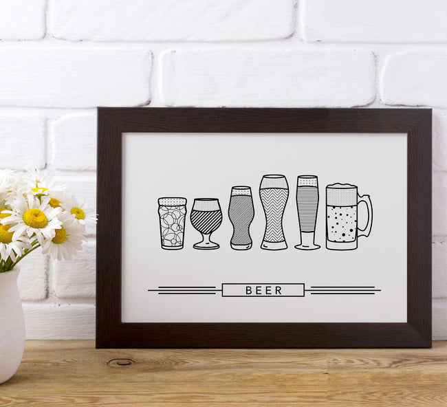 craft beer glasses - small frame - black and white