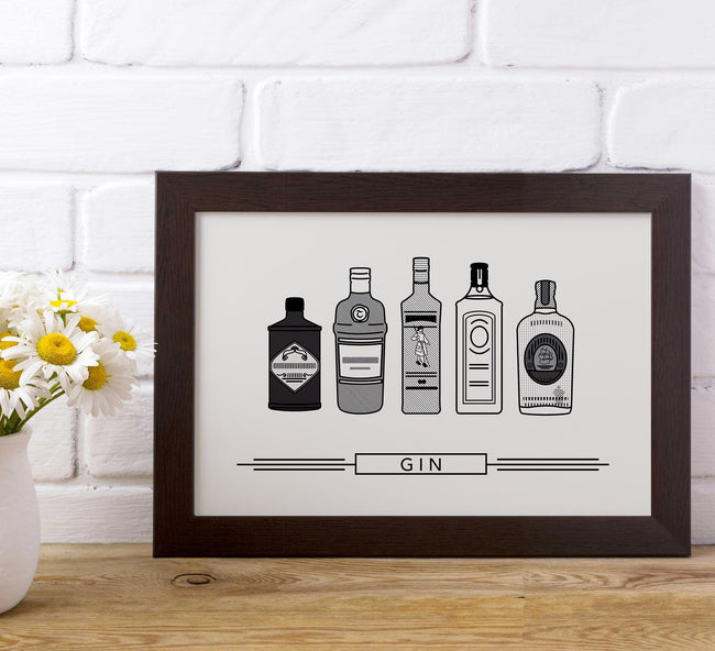 bar poster - black and white - gin