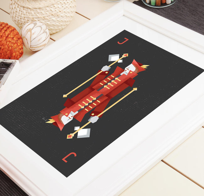 Red Jack Playing Card Print - Game Room Poster