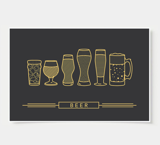 craft beer glasses - bar poster - black and gold