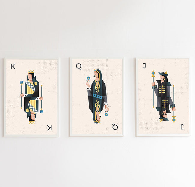 Black Playing Card Posters - Set of 3