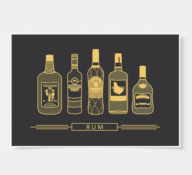 bar poster - black and gold - rum