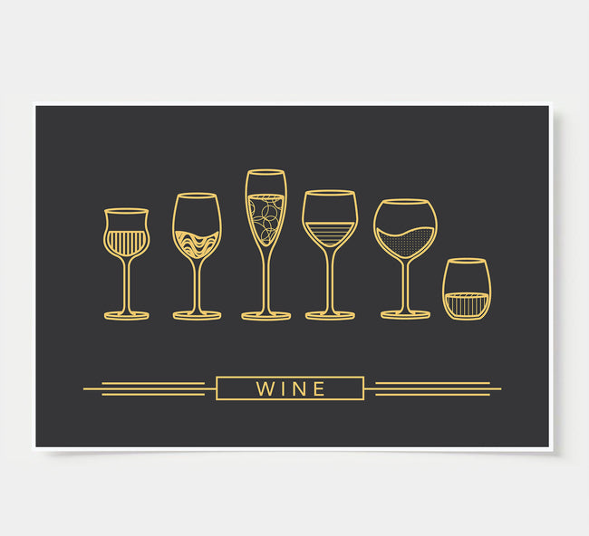 Wine Glass Designs - Wine Wall Decor - black and gold