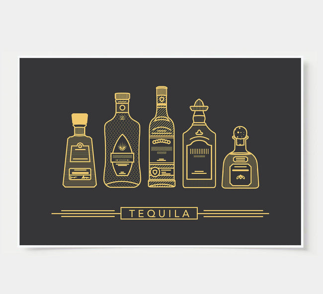 bar poster - black and gold - tequila