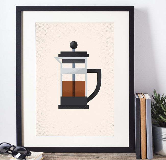 French Press - Coffee Poster - Framed Art