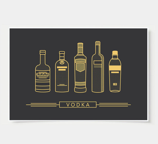 bar poster - black and gold - vodka