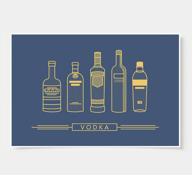 bar poster - navy and gold - vodka