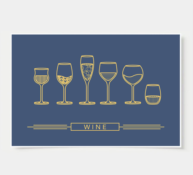 Wine Glass Designs - Wine Wall Decor - blue and gold