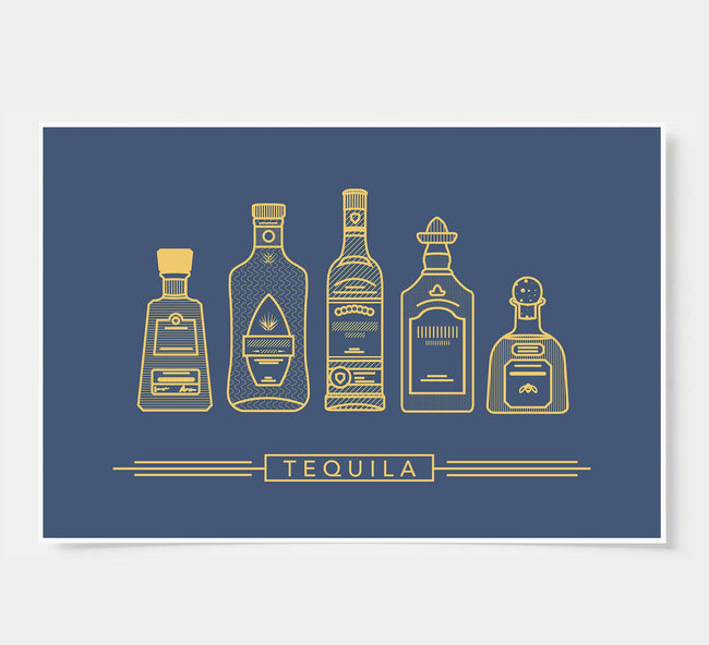 bar poster - navy and gold - tequila