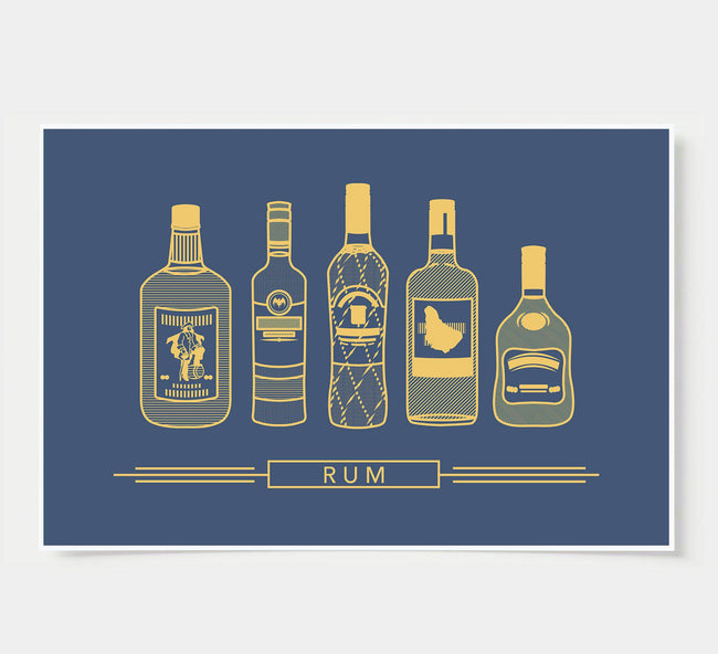 bar poster - navy and gold - rum