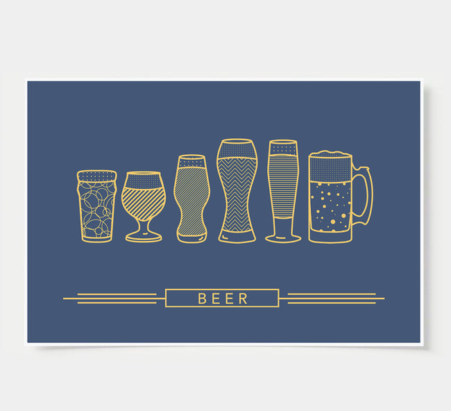 craft beer glasses - bar poster - navy and gold
