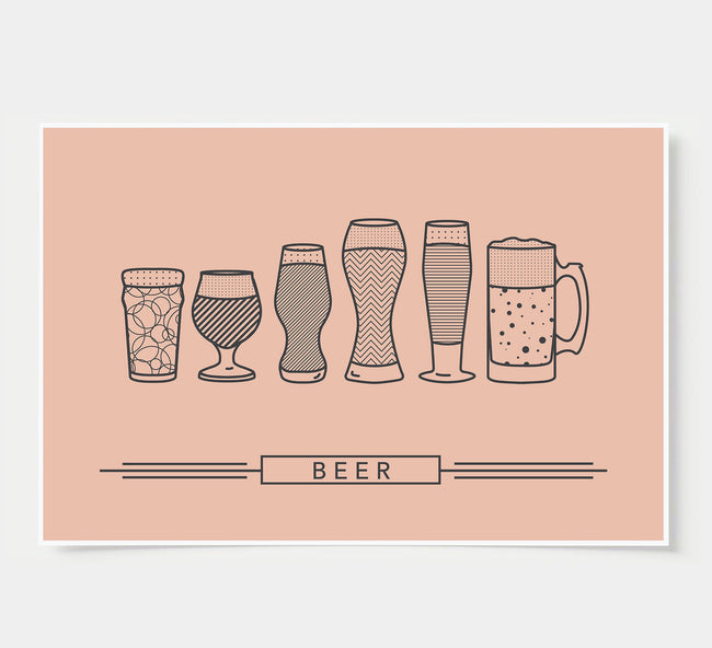 craft beer glasses - bar poster - rustic