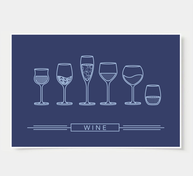 Wine Glass Designs - Wine Wall Decor - indigo