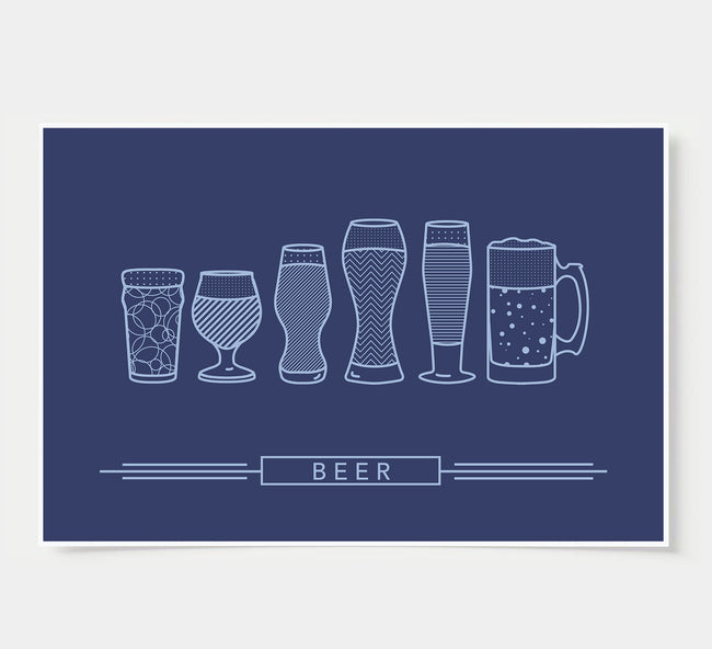 craft beer glasses - bar poster - indigo