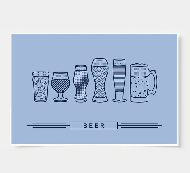 craft beer glasses - bar poster - sky blue