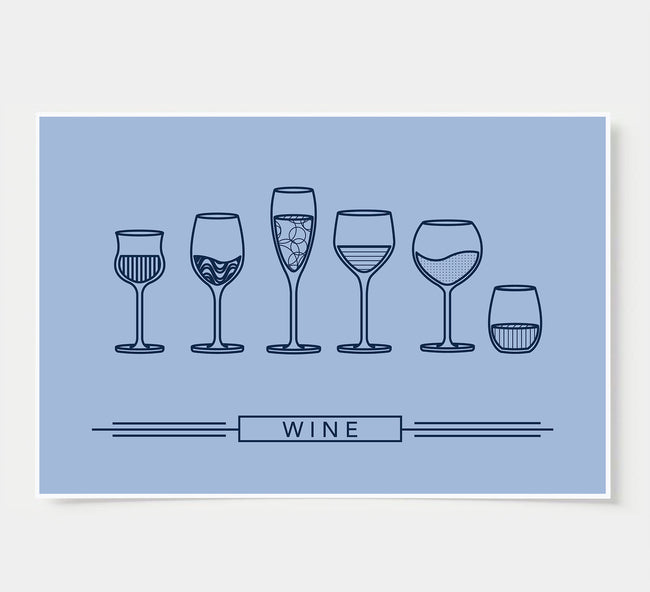 Wine Glass Designs - Wine Wall Decor - sky blue