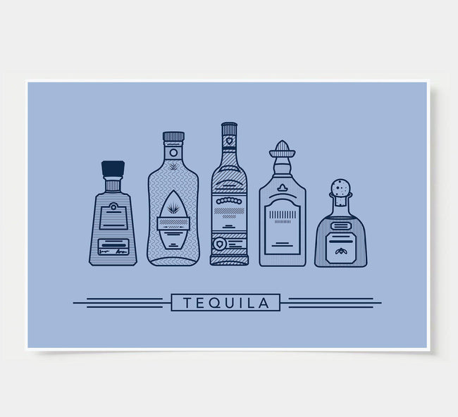 bar poster - sky blue - tequila