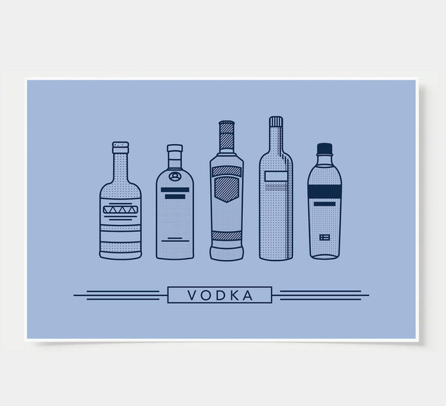 bar poster - sky blue - vodka