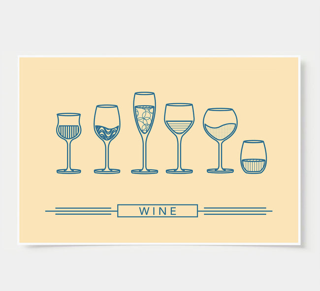 Wine Glass Designs - Wine Wall Decor - ivory