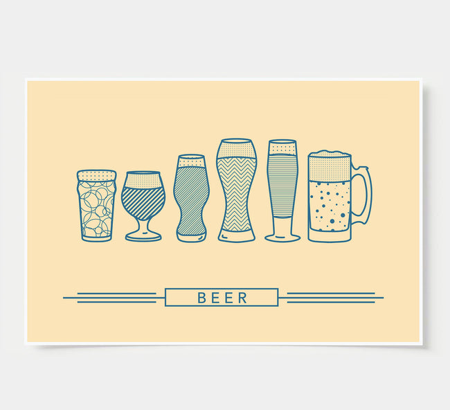 craft beer glasses - bar poster - ivory