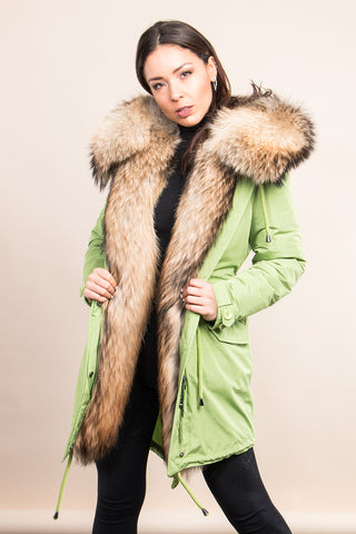 Lime Midi Parka Main Fabric is Waterproof / Raincoat Fabric With Finnraccoon